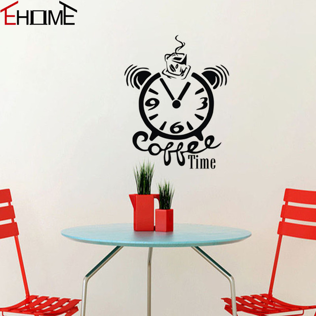 Coffee Time Kitchen Wall Stickers Clock Decoration Accessories For - Wall decals clock