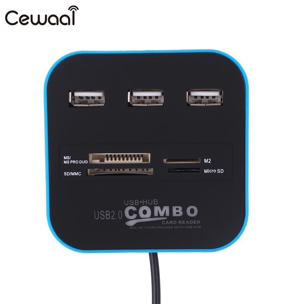 USB 2 0 Multi Card Reader SD TF M2 MS Combo Hub Splitter Adapter For font