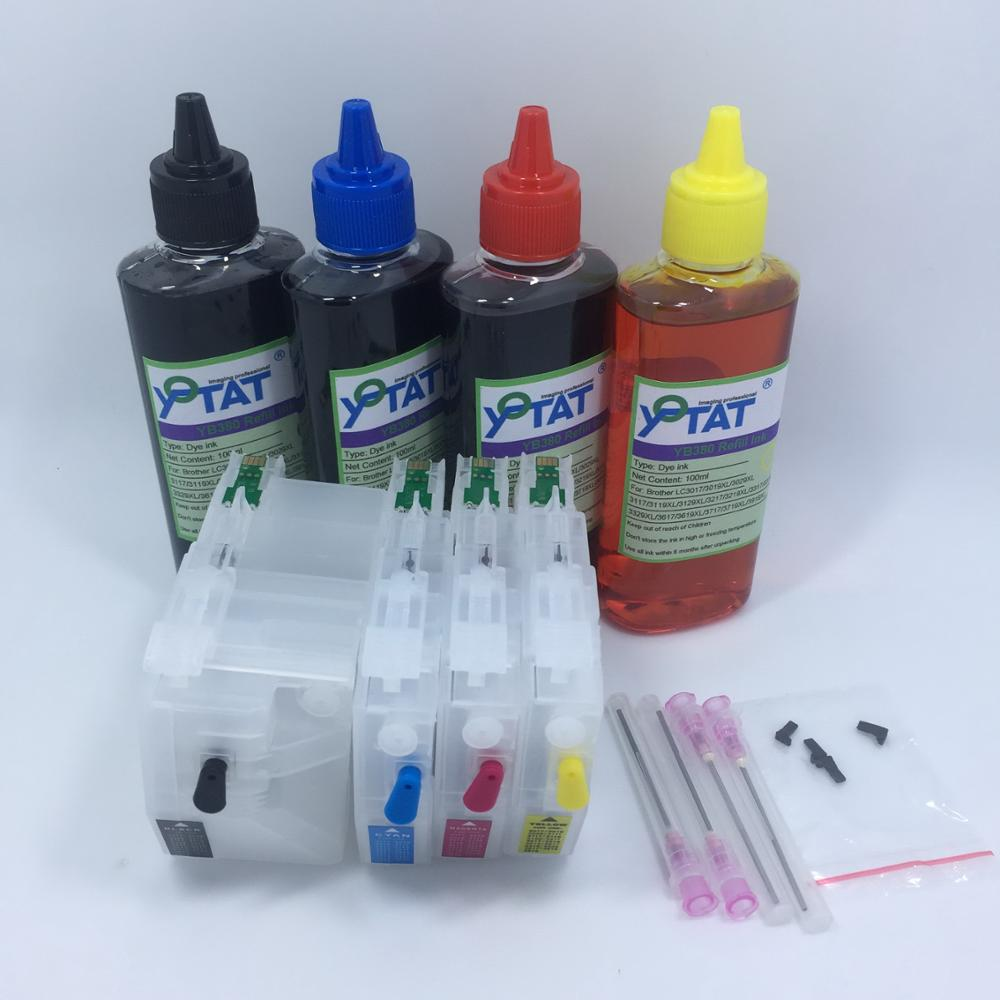 YOTAT 4*100ml Dye ink LC3019 LC3017 Refillable ink cartridge LC3019XL for Brother MFC-J5330DW MFC-J6530DW MFC-J6930DW J6730DW yotat 4pcs refillable ink cartridge lc223 for brother dcp 4120dw mfc j4420dw mfc j4620dw mfc j4625dw mfc j480dw mfc j680dw