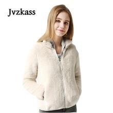 Jvzkass 2019 new Plush coat female long-sleeved collar coat winter wild zipper ladies thick fleece short coat multi-color Z45 цены онлайн