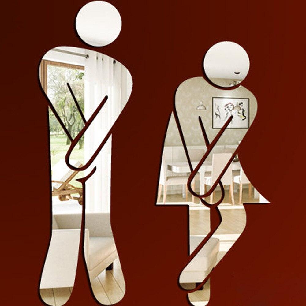 Туалеты бар ковровое покрытие wc мужской и женской идентичности зеркало Наклейки на стену зеркальный акрил Стикеры муур Наклейки Домашний Д...