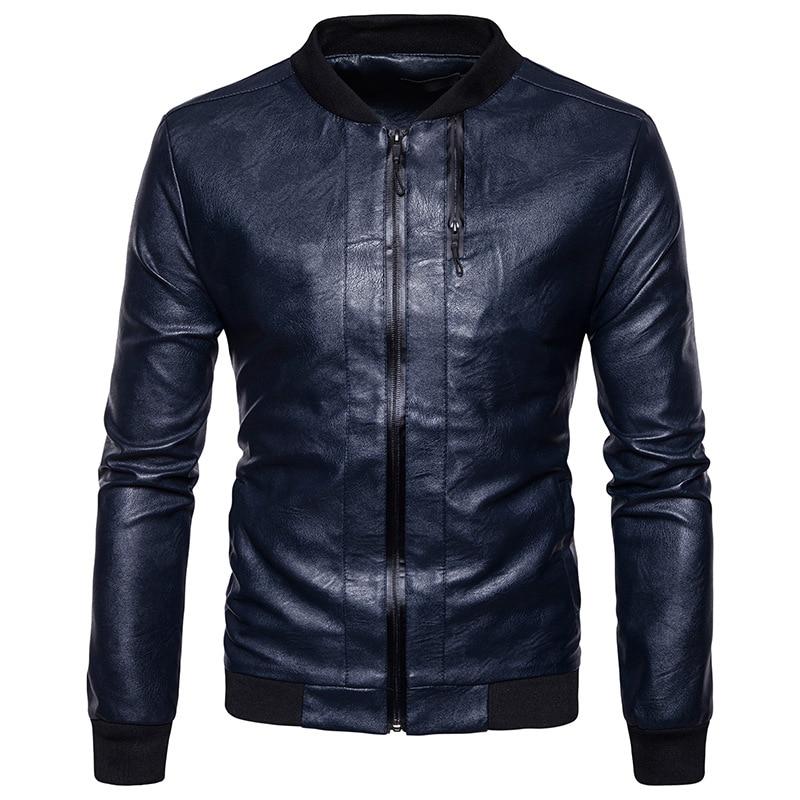 Mens PU Leather Jacket 2017 Casual Slim Fit Mens Winter Leather Jackets Zipper Pocket Baseball Leather Jacket Veste Homme Cuir