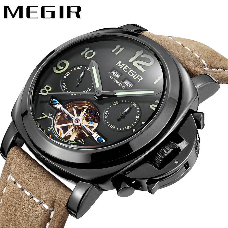 MEGIR Top Brand Luxury Men Automatic Mechanical Watch Tourbillon Nubuck Leather Strap Date Month Year Military Wristwatch forsining a165 men tourbillon automatic mechanical watch leather strap date week month year display
