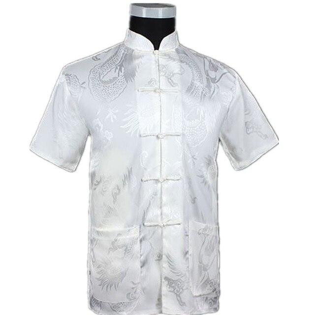 White Chinese Men Summer Leisure Shirt High Quality Silk Rayon Kung Fu Tai Chi Shirts Plus Size M L XL XXL XXXL M061309