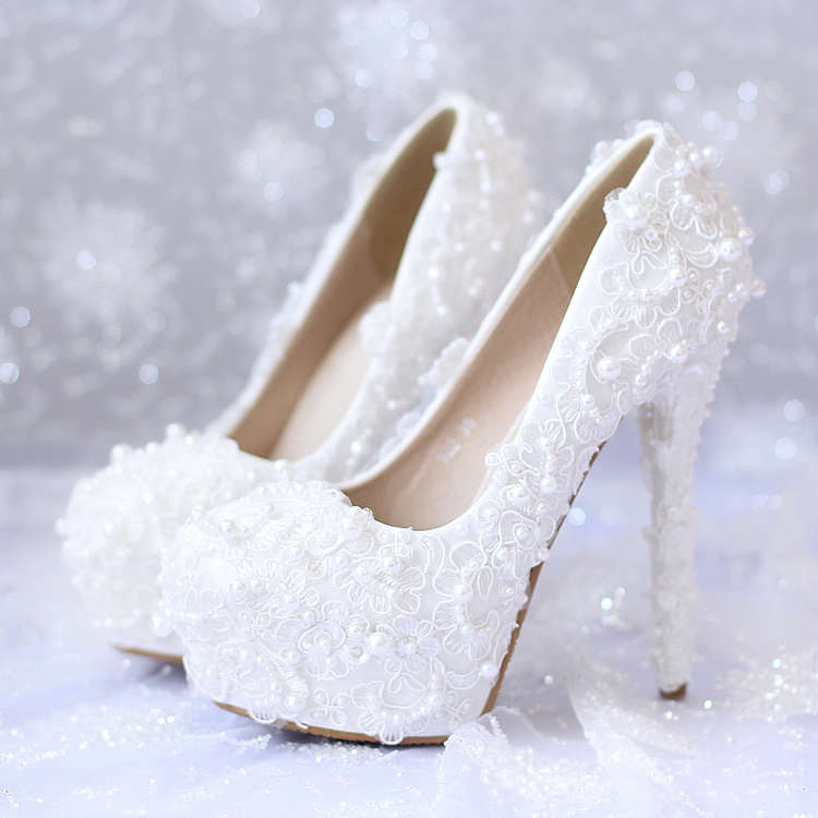 2015 white sweet lace pearl bridal shoes ultra high heels platform formal dress shoes single shoes