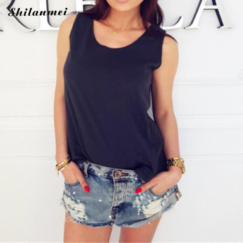 2018 Summer Sexy Low-cut Basic T-shirts Hollow Out Back Loose Tank Top Solid Cotton Sleeveless Camisole Tops Women's Vest Cheap