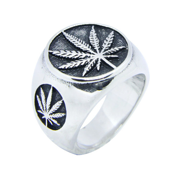 Drop Ship Offer 316L Stainless Steel Ring Cool Leaves Ring Mens Jewelry Silver Polishing Leaves Ring