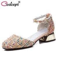 Coolcept Size 32 48 Elegant Women High Heel Sandals Square Toe Ankle Strap Striped Sandals Summer Club Shoes Women Footwear