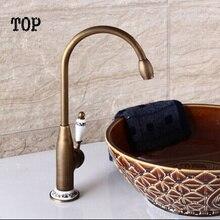 Одной ручкой старинные антикварные фарфоровые раковины кухонный кран Бронзовый кухонный кран смеситель для Мойки водопроводной фарфор раковина кран водопроводной воды