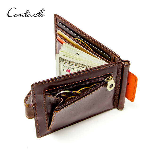 41dee8d22d85 CONTACT'S cow leather money clip men card wallet thin money clamp for 10  cards male bifold credit card case with zip coin pocket