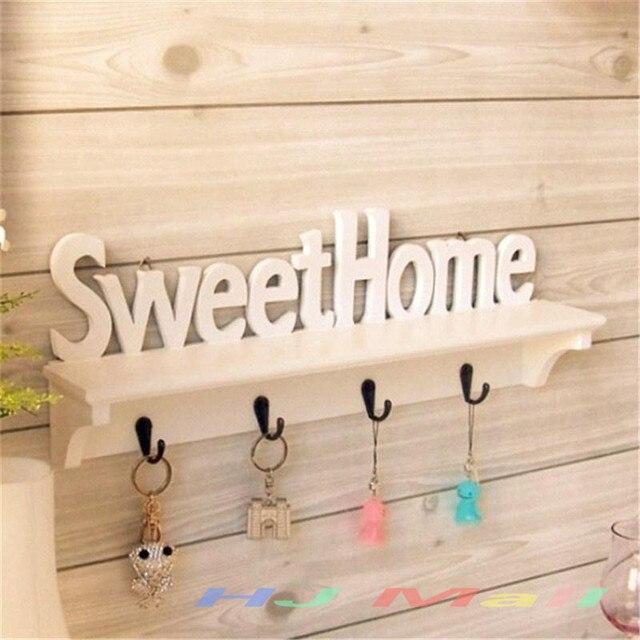 """1 Pc """"Sweet Home"""" Ripiani Cappello Portachiavi 4 Ganci Di Stoccaggio Scaffale Ap"""