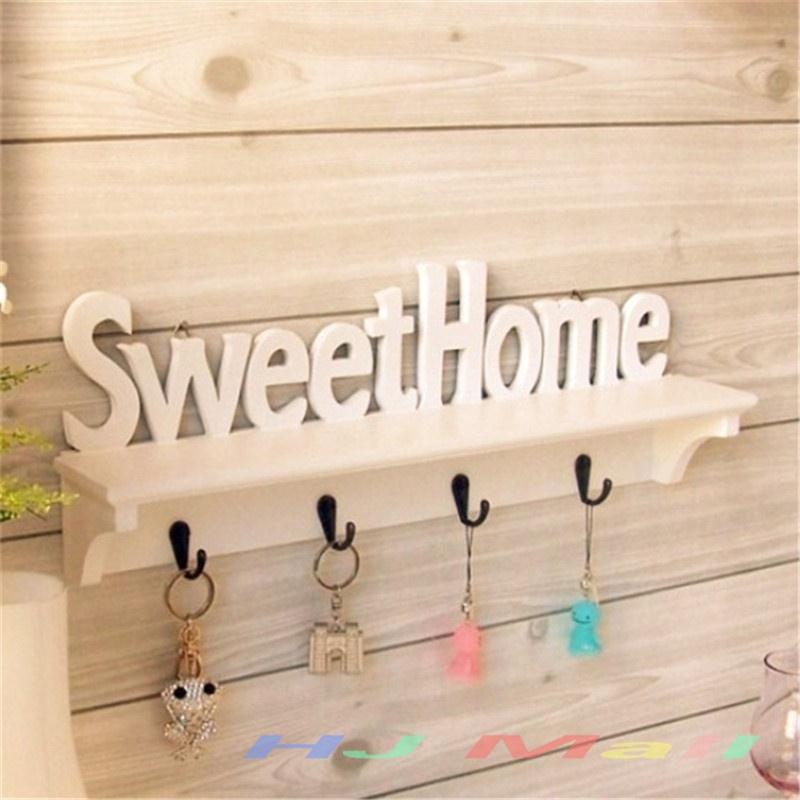 1Pc Sweet Home Shelves Hat Key Holders 4 Hooks Storage Shelf Hanging Hooks Wall Mounted Rack