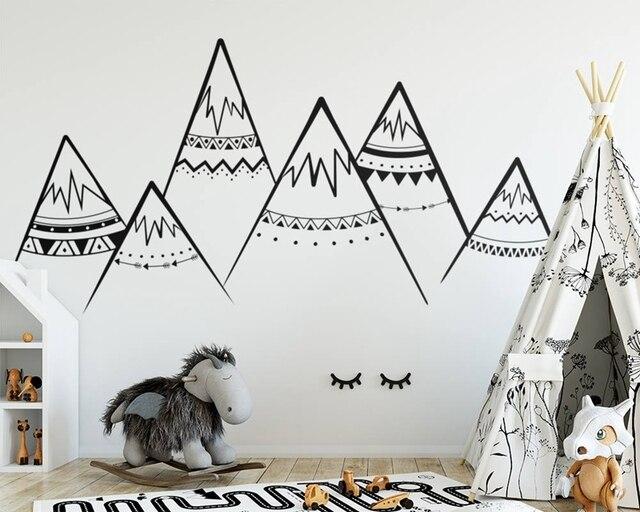 Tribal Mountains Wall Decal Sacndinavian Nursery Vinyl Stickers Kids Room Decor Art Mural