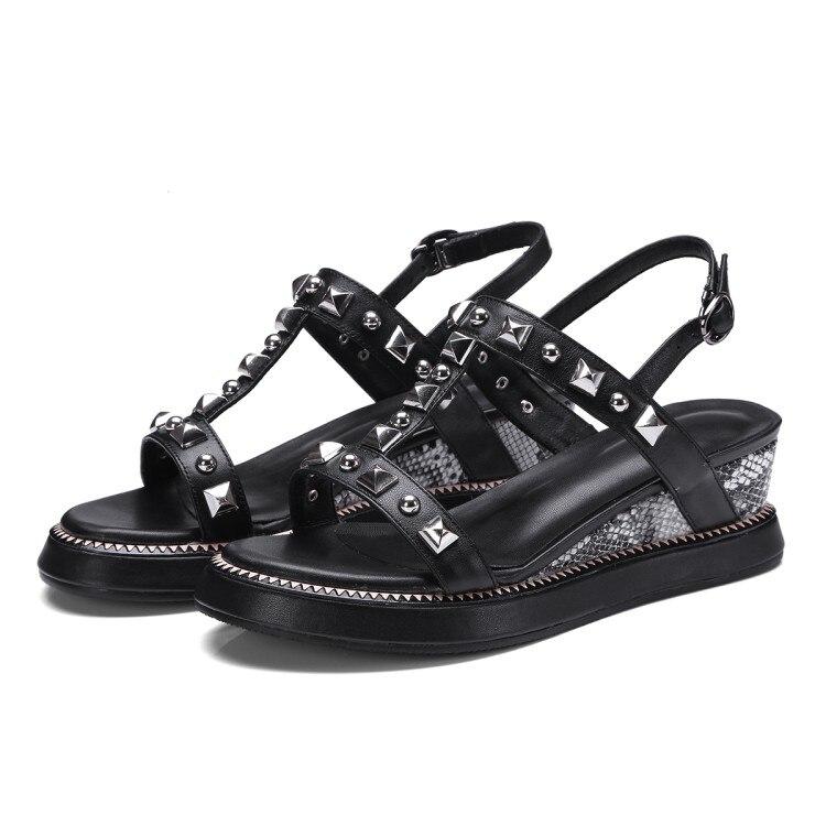 e5f76d01bef Zapatos Moda 2018 Cuñas Verano Abierta Casuales  zorssar  Playa Negro Punta  blanco Remaches Mujer Sandalias Mujeres Las Para ...