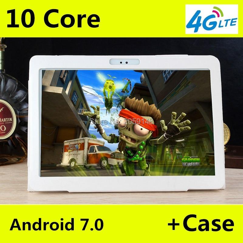 4G LTE T100 1920x1200 Android 7.0 Tablet PC Tab 10.1 Pouce IPS Deca Core 4 GB + 64 GB Double Carte SIM Appel Téléphonique 10.1 Phablet