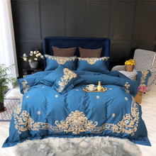 Luxury 100S Egyptian Cotton Gold Royal Embroidery Palace Bedding Set Blue Pink Green Red Duvet Cover Bed sheet/Linen Pillowcases