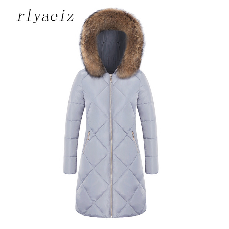 RLYAEIZ New Fashion Winter Coat Women Jacket Hooded Large Fur Collar Middle-long Coats Slim Warm Woman Jackets 2017 New Arrivals 2017 winter new clothes to overcome the coat of women in the long reed rabbit hair fur fur coat fox raccoon fur collar