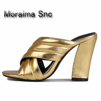 Moraima Snc summer slippers women Crossover Sandals Mules Gold Slides Block High Heels Sandals ladies pantoufle femme home