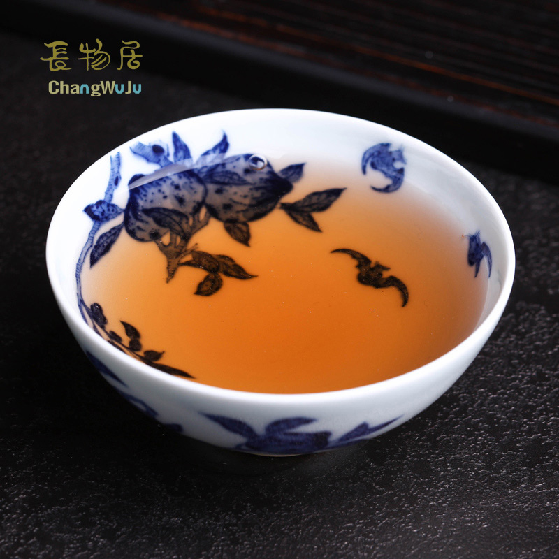 Changwuju in Jingdezhen Cups & Saucers the hand painted blue and white Kung-Fu tea cup firing in the firewood kiln for host use