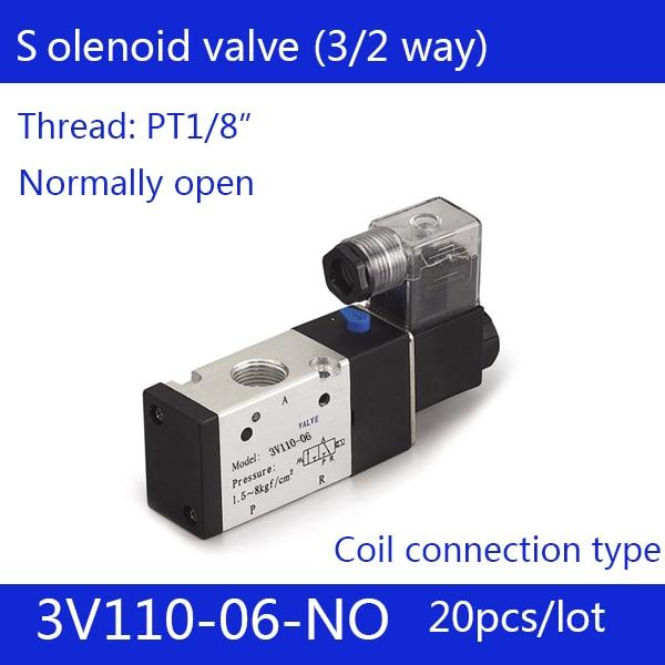20PCS Free shipping good qualty 3 port 2 position Solenoid Valve 3V110-06-NO normally open, DC24v,DC12V,AC110V,AC220V, 3/2way