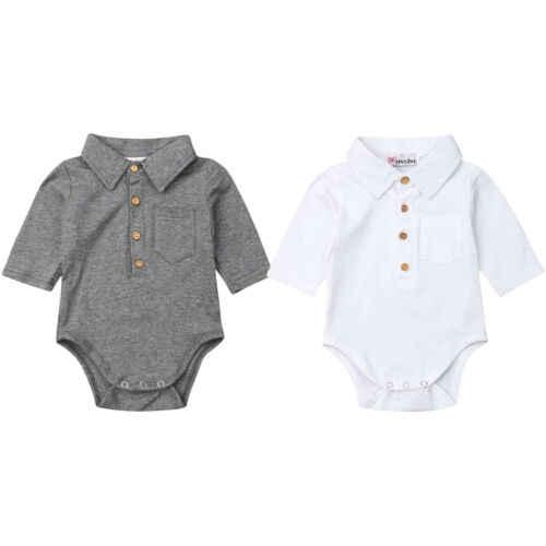 Baby Boy Aummer odzież formalna bawełniana kombinezon Romper z długim rękawem dla malucha dzieci noworodek Gary White