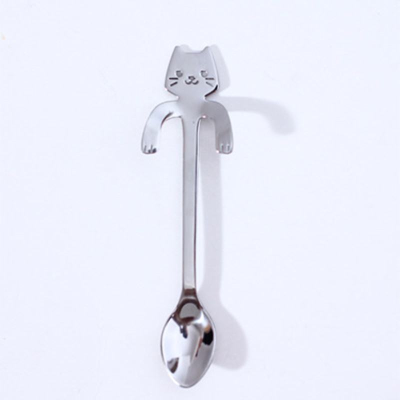 Кофейная и чайная ложка мини-кошка с длинной ручкой креативная ложка для питья пищевая кухонная посуда из нержавеющей стали - Цвет: Sliver