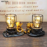 Novelty Copper Wire String Light Cute Bear Vintage Resign Table Lamps Bear Pilot Night Light For