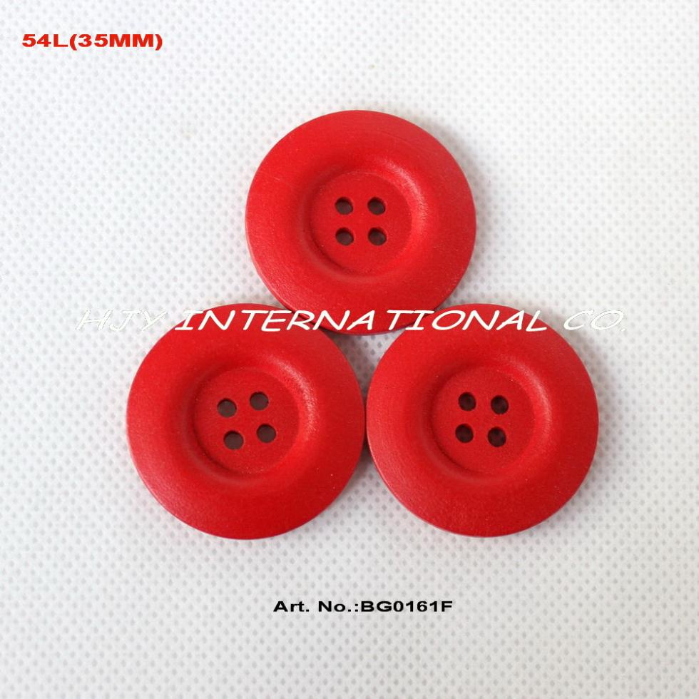 Bulk buttons for crafts -  50pcs Lot 35mm 4 Holes Red Color Wooden Buttons Crafts Necklace Toy Sewing