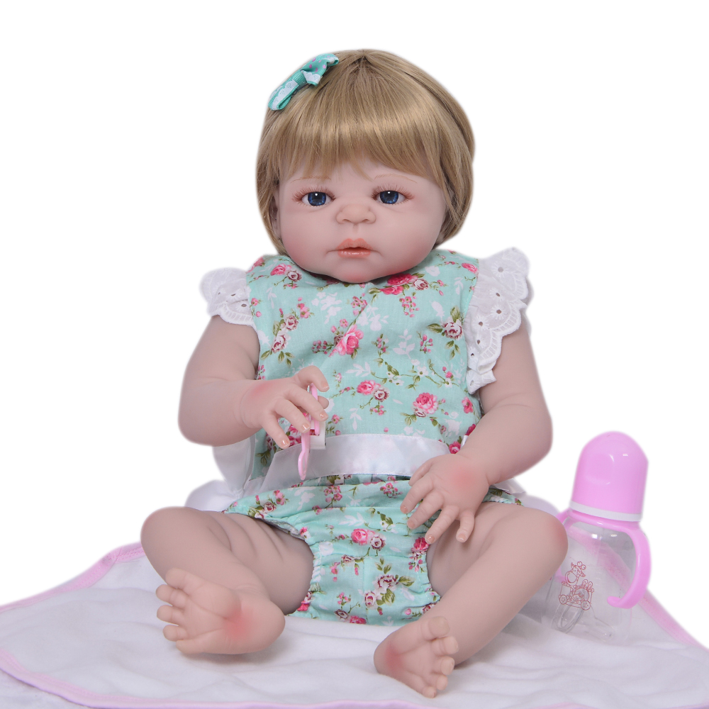 Fashion 23 57 cm Reborn Baby Doll Full Body Silicone Lifelike Princess Baby Reborn Bonecas Gold