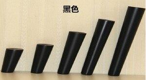Image 4 - 4 unids/lote muebles con patas de madera cónicas oblicuas muebles de madera confiable patas de armarios patas de sofá de mesa negro con placa de Metal B528