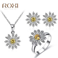 ROXI Happiness Sunflower Pendant Necklace Stud Earrings Ring Yellow Crystal Women Jewelry Set For Girls Daisy