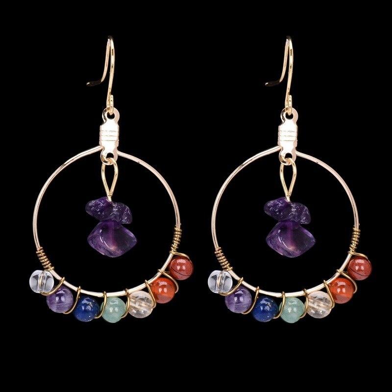 Trendy handmade irregular 7 chakra natural stone earrings Trendy womens gifts 2015