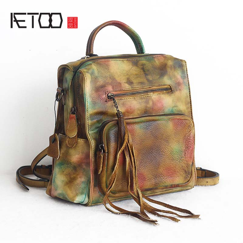 AETOO New retro handmade wiping cowhide leather backpack women vintage multi-function practical backpack personality tassel bags retro tiny bell tassel anklet for women