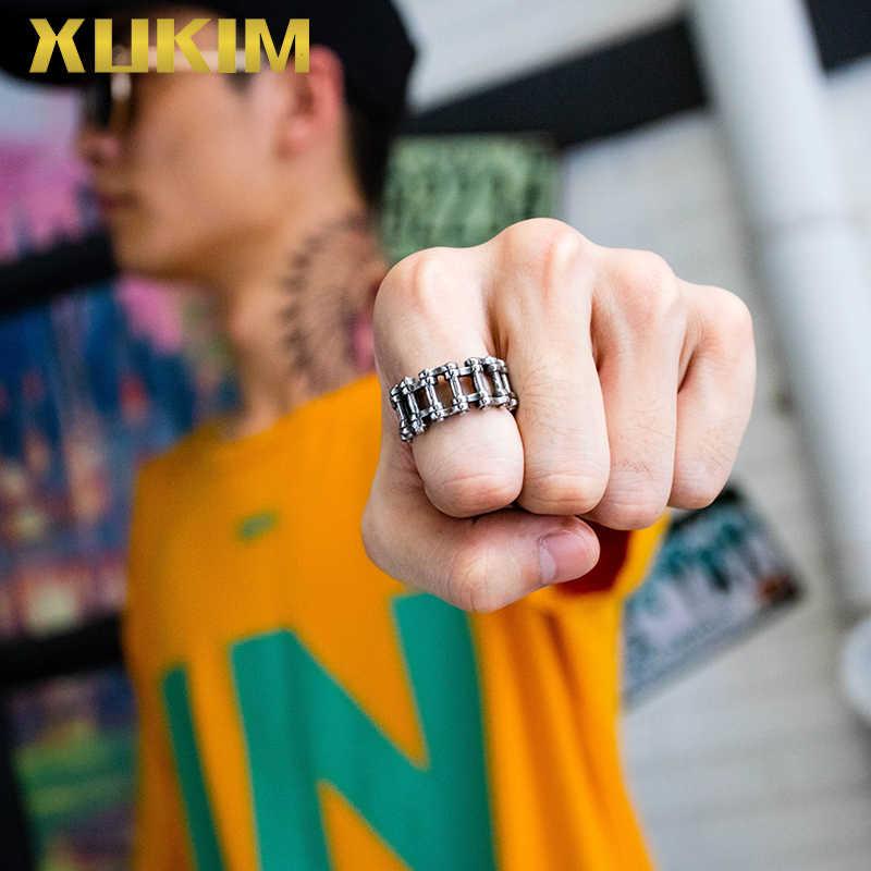 RO105 Xukim Trang Sức 2019 Hip Hop Xe Đạp Liên Kết Vòng Bạc Punk Vòng tay Nam