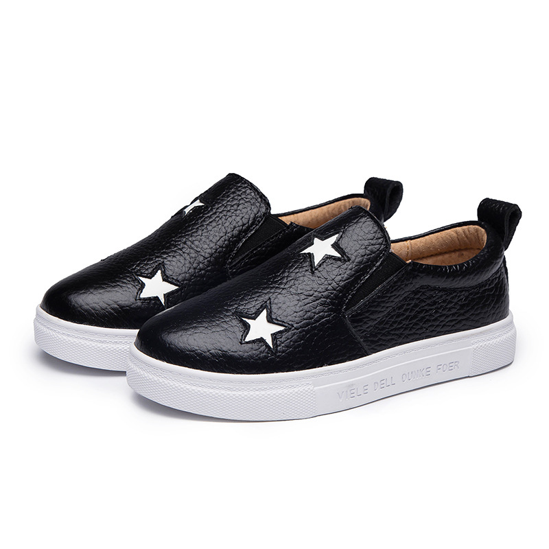 2017 Spring New Fashion Boys Girl Genuine Leather Children Shoes Lovely Star Decoration Kids Casual Shoes Plate Shoes KS218