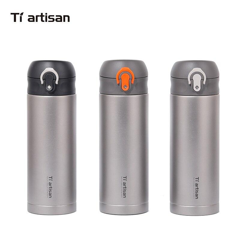 Tiartisan открытый Титан чайник двойная крышка кольцо небольшой средства ухода за кожей Шеи кемпинг бутылка для воды 400 мл Ta8396Ti