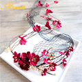 Vintage Wine Red Flower Headband For Women 100% Handmade Wedding Bridal Crystal Floral Wreath Veil Net Hair Accessories SG404