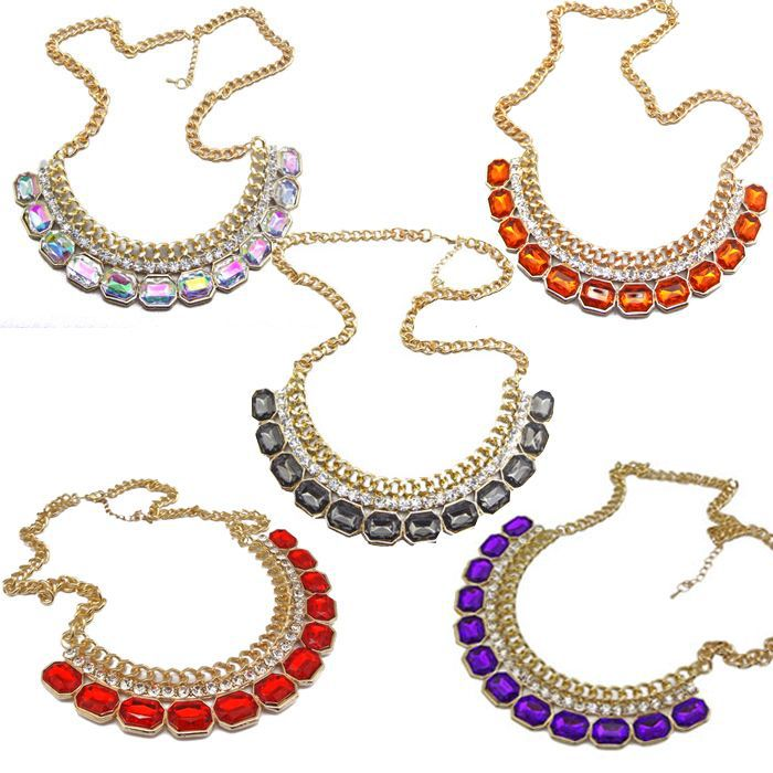 Free Shipping 2018 new jewelry European style fashion Punk Luxury noble gem inlaying necklace royal crystal colorful gold chain
