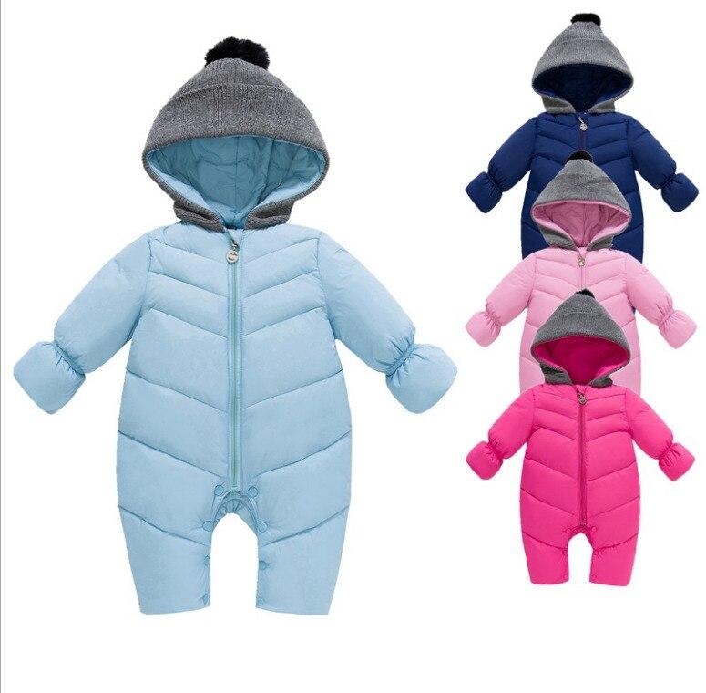 Baby Girls Boy Snowsuit Down Cotton Rompers Hoodies Newborn Overalls Clothes Kids Children Jumpsuit 2018 Autumn Winter Warm Coat
