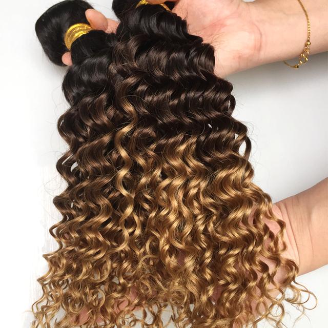 Ombre Deep Wave Brazilian Hair Weave Bundles