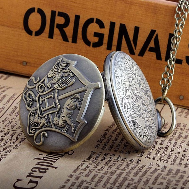 Vintage Harry Potter Hogwarts Pocket Watches Necklace Chain Pendants Clock Cute Stationary Women Men Gifts
