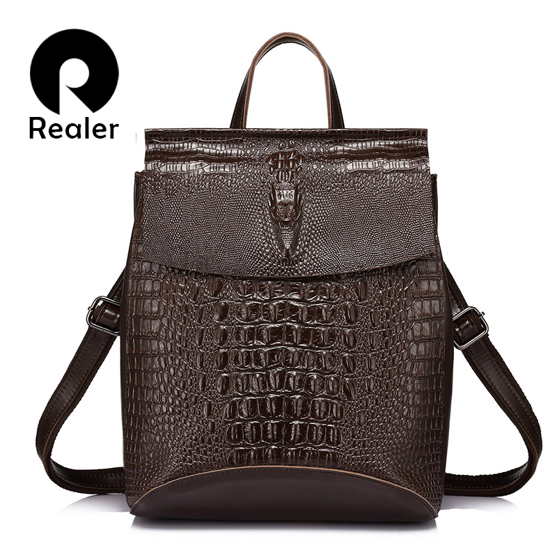 Realer Women Backpack Split Leather Backpacks For Girls Teenagers School Bag Ladies Shoulder Bag Crocodile Prints Large Backpack #1