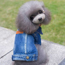 dog coat jackets winter warm costume small large dog pet cat Denim Cowboy clothing Apparel 2017 christmas(China)