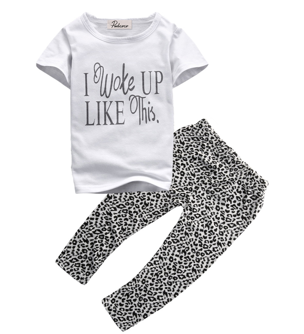Summer 2017 2pcs Baby Girls Casual White T-shirt Tops+Leopard Pants Outfits Clothes Set age 1-6Y new baby character dinosaur overalls white t shirt lovely baby costumes baby outfits