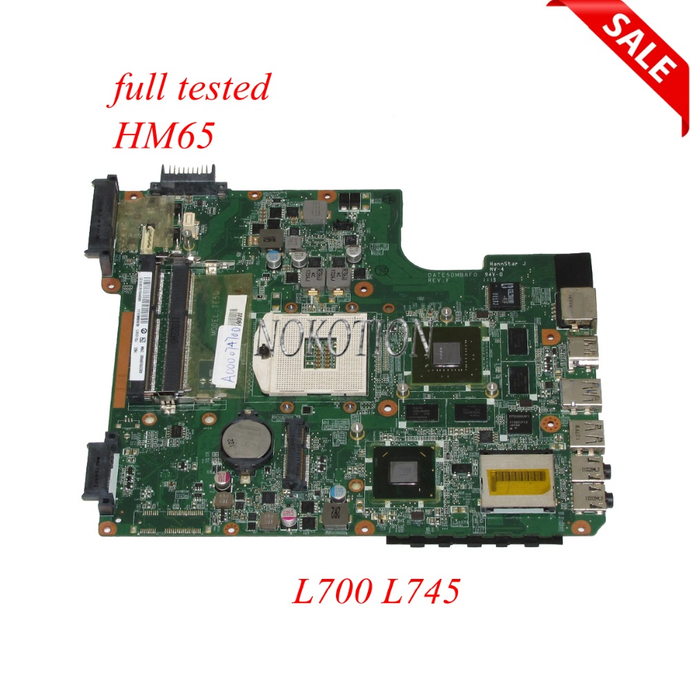 NOKOTION A000074700 Laptop Motherboard for Toshiba L700 DATE5DMB8F0 31TE5MB00L0 HM65 DDR3 GT525M Main board Full testedNOKOTION A000074700 Laptop Motherboard for Toshiba L700 DATE5DMB8F0 31TE5MB00L0 HM65 DDR3 GT525M Main board Full tested