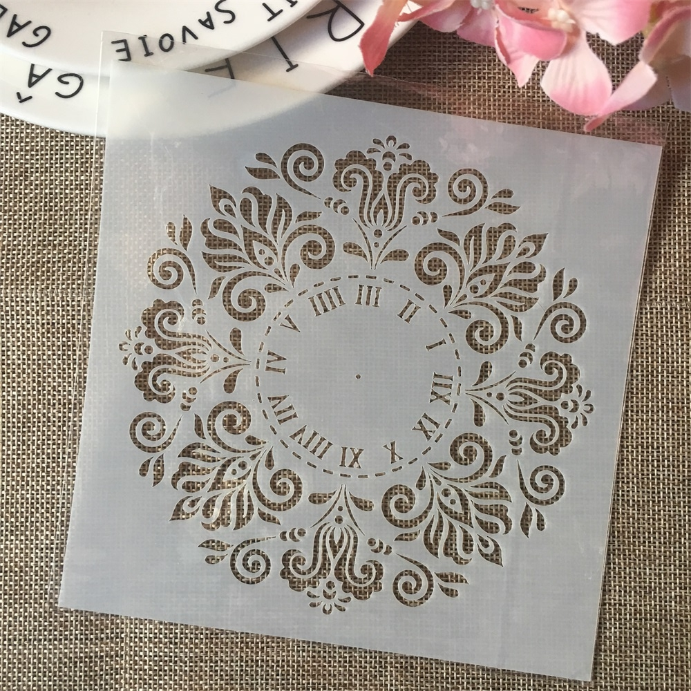 6*6inch Clock Flower Rome DIY Layering Stencils Painting Scrapbook Coloring Embossing Album Decorative Card Template