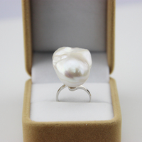 Women Gift word 925 Sterling silver real Mail pony natural freshwater baroque pearl ring, S925 silver, European and American Win