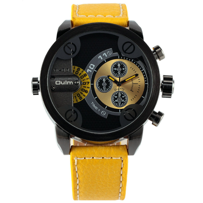 OULM Men's Casual Military Quartz Wristwatch Leather Strap Oversize Dual Time Zone Sub Dial Luxury DZ Watches Design + Gift Box