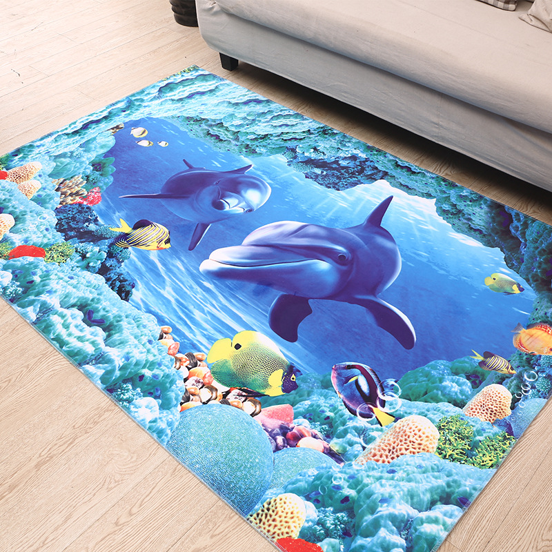 3D Dolph Fish Printed Area Rug For Living Room Non Slip