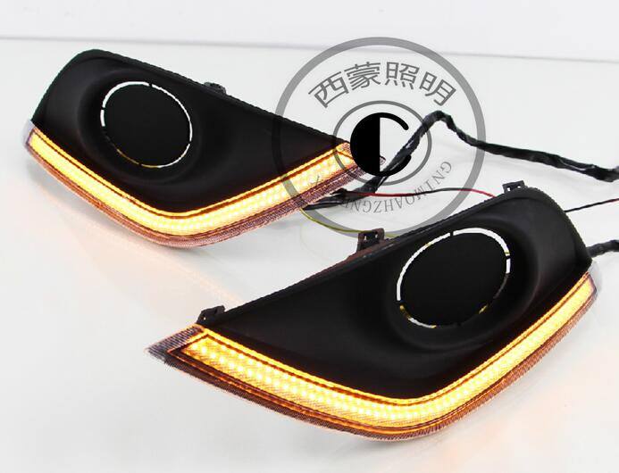 eOsuns led drl daytime running light driving light for Nissan sunny versa 2014 2015 2016 with yellow turn signal new arrival led drl daytime running light driving light with turn light function for nissan teana altima 2013 2014 2015